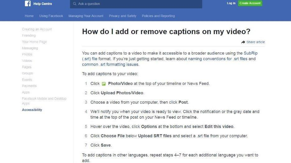 How to ad closed captions to a Facebook video