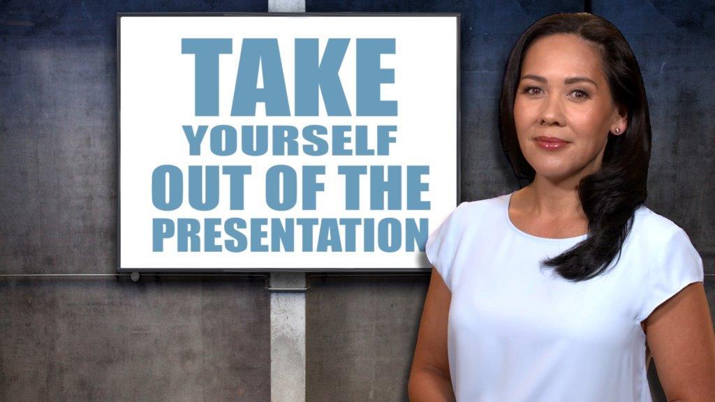 Presenter in front of screen