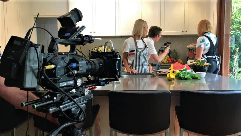 Shooting a corporate video in a kitchen