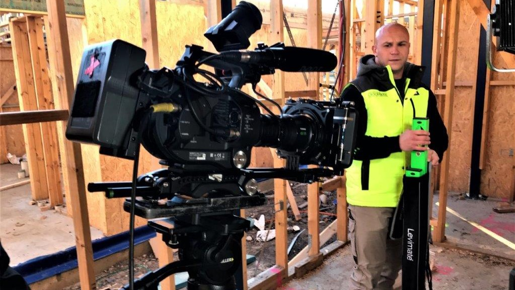 shoooting marketing videos on a building site